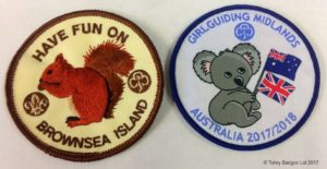 Left image - embroidered badge which shows directional stitching Right image - woven badge - design all flat